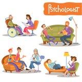 Uppsättning för tecknad film för privat övning för psykolog stock illustrationer