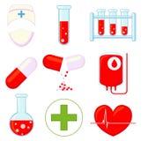 uppsättning för tecknad film för symbol för läkarundersökning 9 färgrik vektor illustrationer