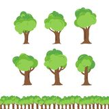 Uppsättning för tecknad film för trädillustrationsamling royaltyfri illustrationer