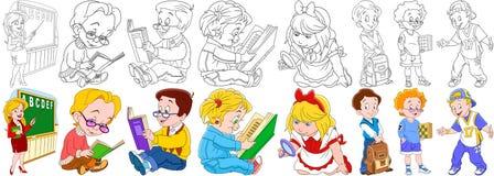 Uppsättning för tecknad filmbarnskola Royaltyfri Foto