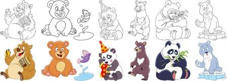 Uppsättning för tecknad filmbjörnpanda Royaltyfri Bild