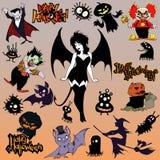 Uppsättning för tecknad filmhalloween illustration av olika onda bisarra varelser och tecken royaltyfri illustrationer