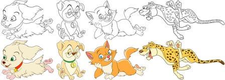 Uppsättning för tecknad filmkatthund royaltyfri illustrationer