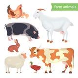Uppsättning för tecknad filmvektorillustration av lantgårddjur på vit Arkivbilder