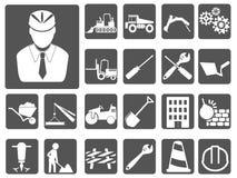 Uppsättning för tekniker- och konstruktionssymbolsknappar stock illustrationer