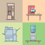 Uppsättning för tekniskt rum för kontorskök inre inomhus vektor illustrationer