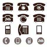 Uppsättning för telefonsymbolsvektor Royaltyfri Bild