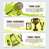 Uppsättning för tennisskola, turnering, utrustninghorisontalbaner vektor illustrationer