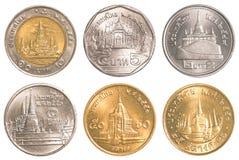 Uppsättning för Thailand cirkulerande myntsamling Royaltyfria Foton