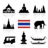 Uppsättning för Thailand gränsmärkesymbol royaltyfri illustrationer