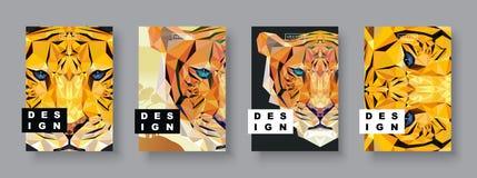 Uppsättning för tigerabstrakt begreppräkningar Korttigermall Framtida affischmall Polygonal halvton Tigerkonturillustration stock illustrationer