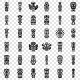 Uppsättning för Tiki förebildsymbol, enkel stil royaltyfri illustrationer