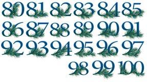 uppsättning för 80 till 100 nummer av 0 till 100 påfågelnummer Arkivfoton
