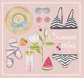 Uppsättning för tillbehör för sommarmodevektor royaltyfri illustrationer