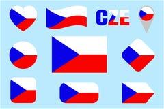 Uppsättning för Tjeckienflaggavektor Olikt geometriskt formar Plan stil Tjecken sjunker samlingen Kan använda för sportar vektor illustrationer