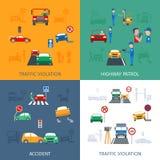 Uppsättning för trafikkränkning Arkivfoton