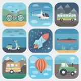 Uppsättning för transportApp-symboler Royaltyfria Bilder