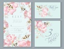 Uppsättning för tulpanfjärilskort Royaltyfria Bilder