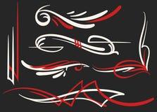 Uppsättning för två färgad pinstriping prydnader Royaltyfri Foto