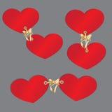 Uppsättning för två hjärtor i a  Royaltyfri Foto