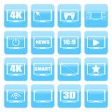 Uppsättning för TVsymbolsvektor TVskärmar på en vit bakgrund TV isolerade konturer Arkivbild