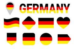 Uppsättning för Tysklandflaggavektor Samling av tyska nationsflaggor Lägenhet isolerade symboler, traditionella färger illustrati Vektor Illustrationer