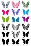 Uppsättning för Unicolorous fjärilsvingar Arkivfoto