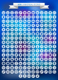 uppsättning för 200 universell symboler Arkivbild