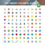Uppsättning 4 för 100 universell symboler vektor illustrationer