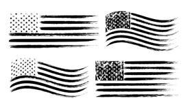Uppsättning för USA amerikansk grungeflagga, svart som isoleras på vit bakgrund, vektorillustration vektor illustrationer