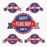 Uppsättning för USA flaggmärkesdagemblem Royaltyfri Fotografi