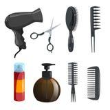 Uppsättning för utrustning för hårskönhetsalong Hårspray sax, hårkammar för att utforma, massagehårborste, tork, brun flaska med  royaltyfri illustrationer