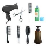 Uppsättning för utrustning för hårskönhetsalong Hårspray sax, hårkammar för att utforma, massagehårborsten, tork, det bruna diagr stock illustrationer