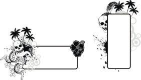 Uppsättning för utrymme för kopia för tatuering för blommor för skallehibiskus hawaiansk royaltyfri illustrationer