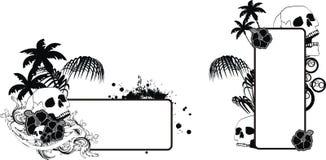 Uppsättning för utrymme för kopia för tatuering för skallehibiskus hawaiansk royaltyfri illustrationer