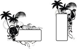 Uppsättning för utrymme för kopia för tatuering för skallehibiskusblommor stock illustrationer