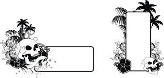 Uppsättning för utrymme för kopia för tatuering för skallehibiskushawaii svart vektor illustrationer