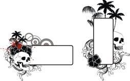 Uppsättning för utrymme för kopia för tatuering för skallehibiskussommar stock illustrationer