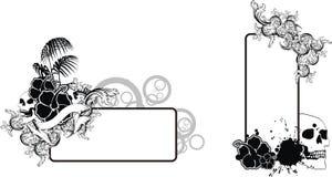 Uppsättning för utrymme för kopia för tatuering för skallehibiskussvart stock illustrationer
