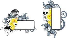 Uppsättning för utrymme för kopia för tatuering för sommar för skallehibiskusblommor stock illustrationer