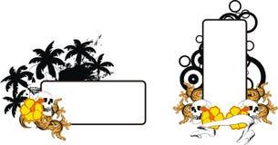 Uppsättning för utrymme för kopia för tatuering för svart för skallehibiskusblommor vektor illustrationer