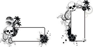 Uppsättning för utrymme för kopia för tatuering för svart för skallehibiskussommar vektor illustrationer