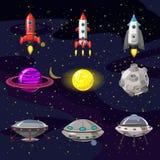 Uppsättning för utrymmetecknad filmsymboler Planeter raket, ufo-beståndsdelar på kosmisk bakgrund, vektor som isoleras, tecknad f vektor illustrationer