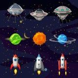Uppsättning för utrymmetecknad filmsymboler Planeter raket, ufo-beståndsdelar på kosmisk bakgrund, vektor, tecknad filmstil vektor illustrationer
