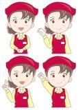Uppsättning för uttryck för supermarketassistentkvinna stock illustrationer
