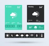 Uppsättning för vädermanick UI av den plana designtrenden. Royaltyfri Fotografi