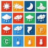 Uppsättning för väderprognossymboler Royaltyfri Bild