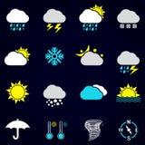 Uppsättning för vädervektorsymbol Royaltyfri Fotografi