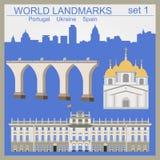 Uppsättning för världsgränsmärkesymbol Beståndsdelar för att skapa infographics Royaltyfri Bild