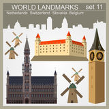 Uppsättning för världsgränsmärkesymbol Beståndsdelar för att skapa infographics Arkivbild